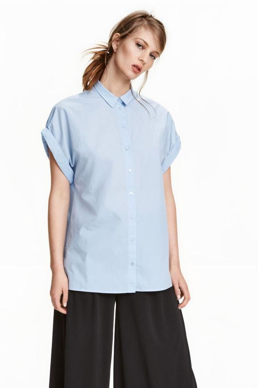 Хлопковая рубашка блузка свободного кроя от h&m
