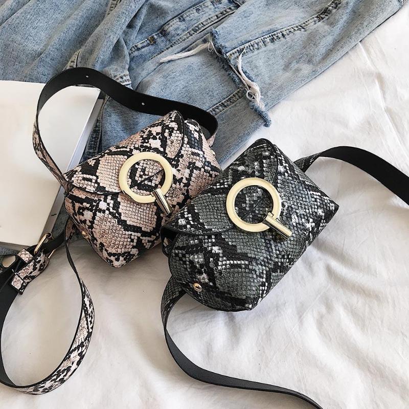 Модная сумка на пояс со змеиным принтом поясная сумка