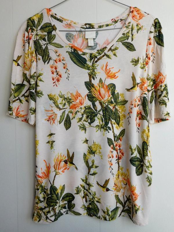 Цветочная  футболка блуза топ цветочный принт птиц с обьемными...