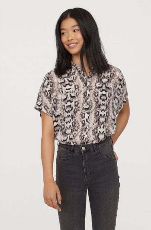 Рубашка блузка в анималистический принт змеиный от h&m