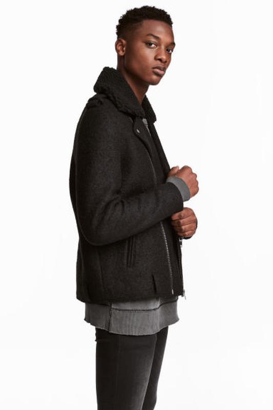 Пальто авиатор байкерская куртка косуха из смесовой шерсти от h&m