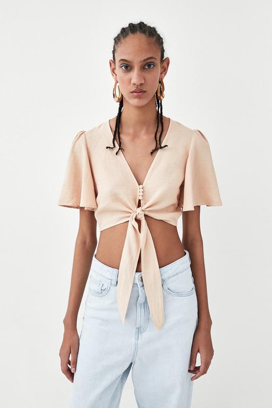 Нюдовая майка топ блуза из натуральной ткани лён лиоцелл с узл...