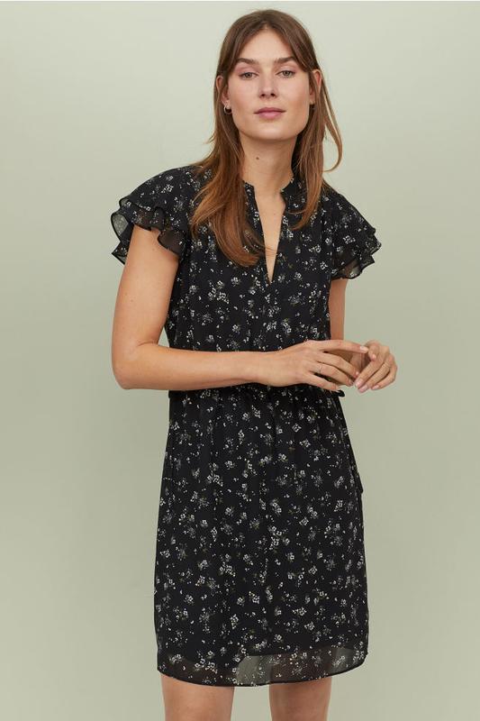 Платье с треугольным вырезом цветочный принт от h&m