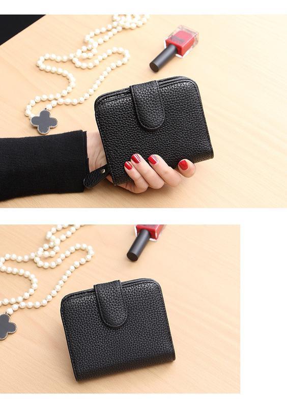 Стильный кошелек с застежкой черный 8 отделений для карт