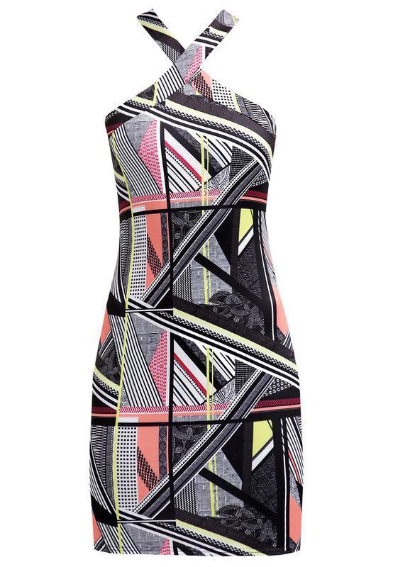 Платье футляр длины миди через шею мультиколор от miss selfidge