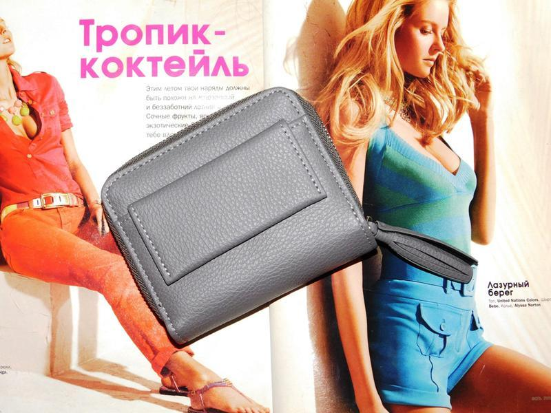 Многофункциональный кошелек с кисточкой серый