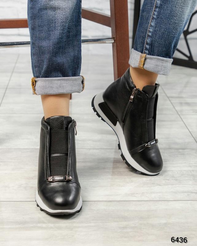 ❤ женские черные зимние кожаные ботинки сапоги ботильоны на ше...