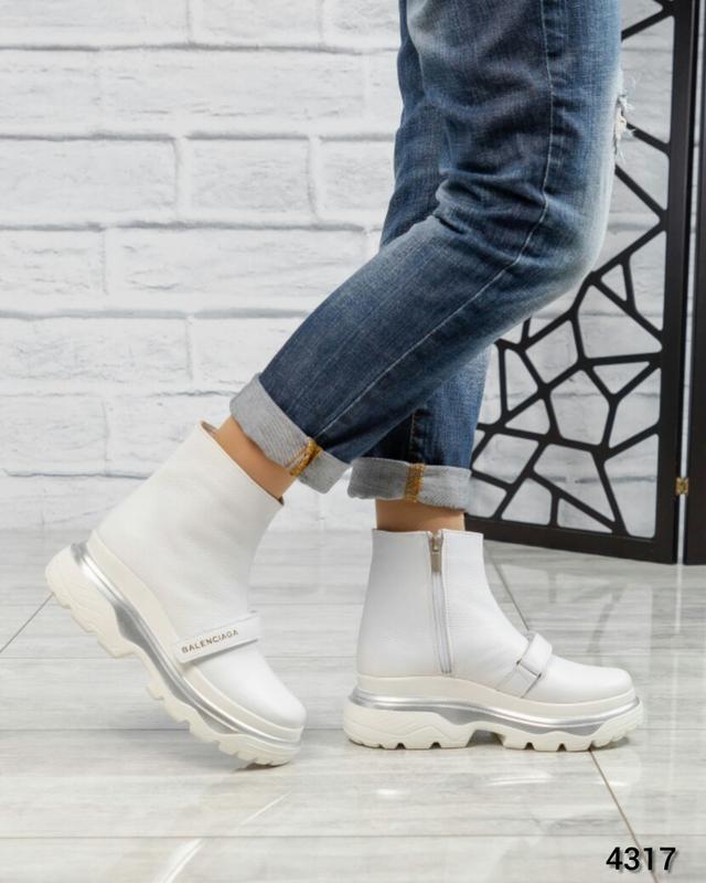 ❤ женские белые осенние деми кожаные ботинки сапоги ботильоны ...