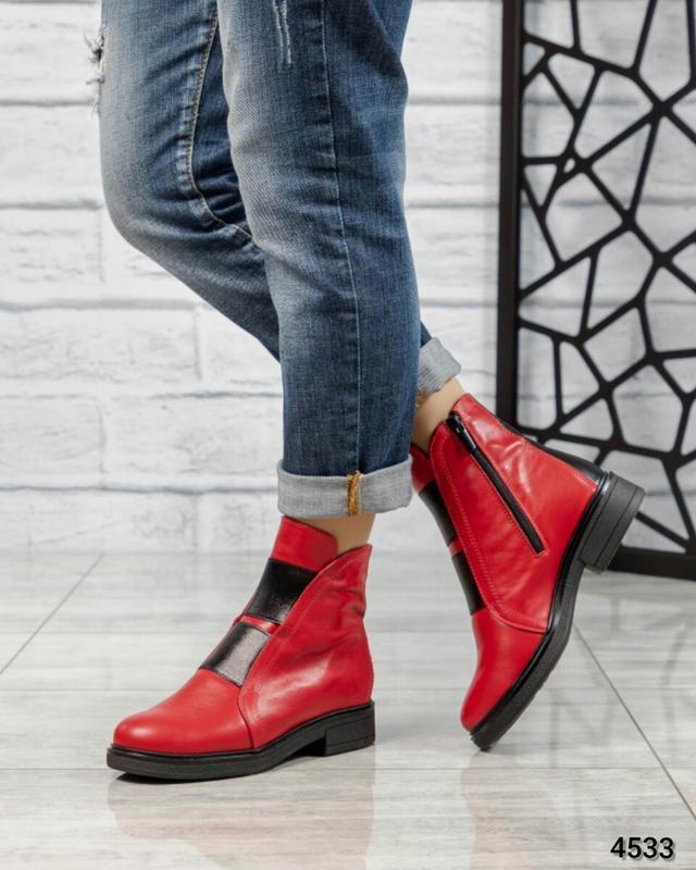 ❤ женские красные зимние кожаные ботинки сапоги ботильоны на ш...