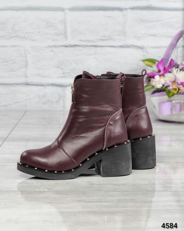 ❤ женские бордовые зимние кожаные ботинки сапоги ботильоны на ...