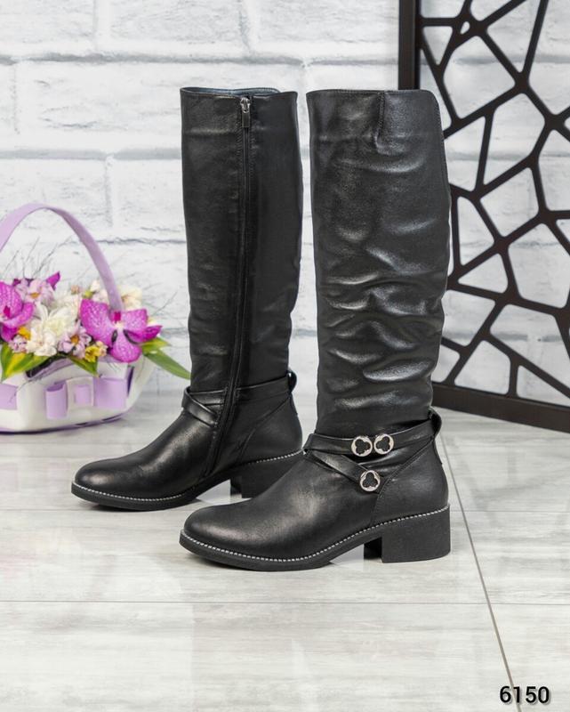 ❤ женские черные зимние кожаные высокие сапоги ботильоны на ше...