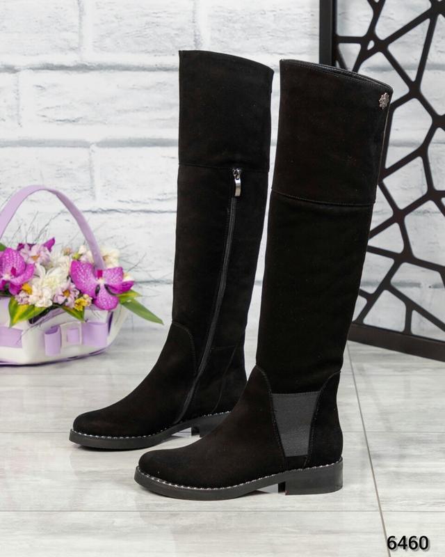 ❤ женские черные зимние замшевые высокие сапоги ботфорты ботил...