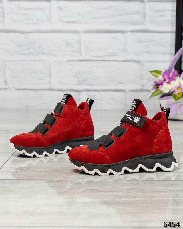 ❤ женские красные зимние замшевые ботинки сапоги ботильоны на ...