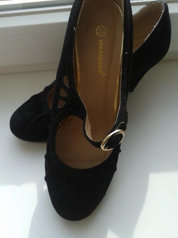 Черные туфли под замш -atmosphere-38