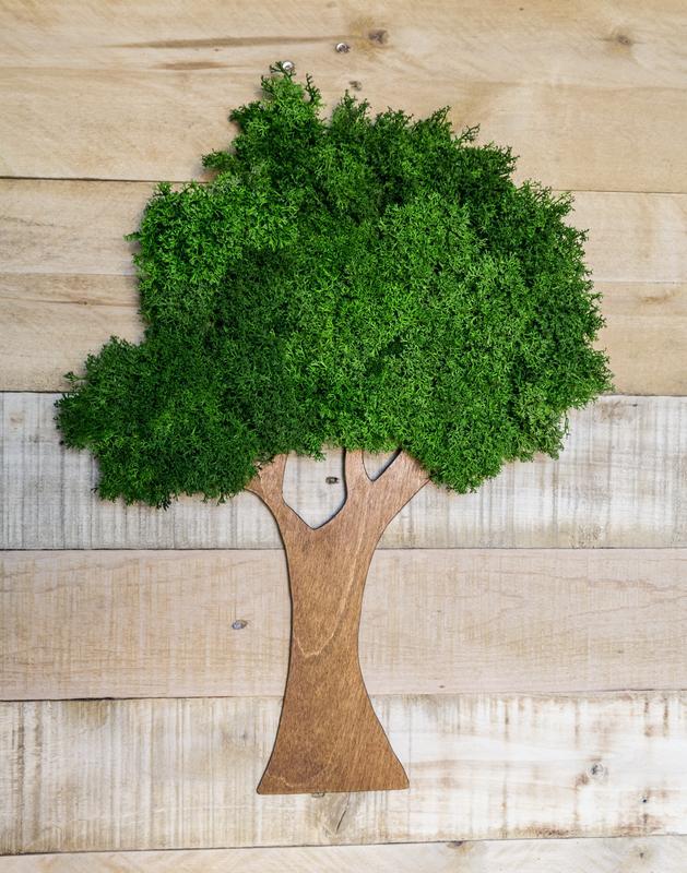 """Эко декор """"Дерево"""" из стибилизированного мха и фанеры"""
