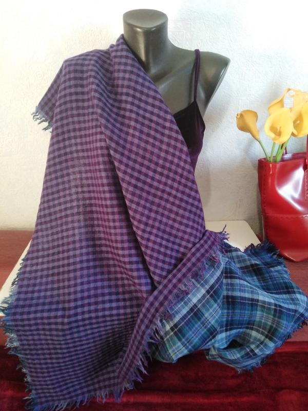 """Натуральная шерсть, двухслойный большой платок""""две клеточка"""", ..."""