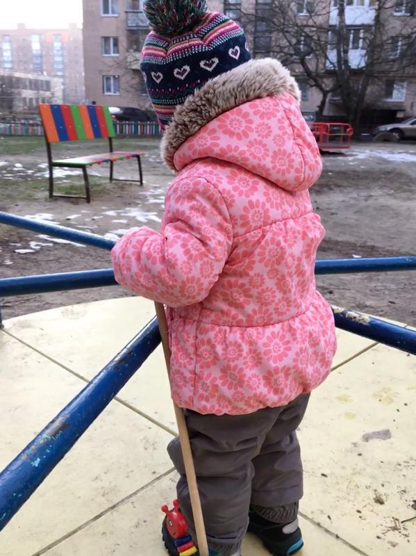 Демисезонная утепленная курточка m&s на флисе на 9-12 месяцев