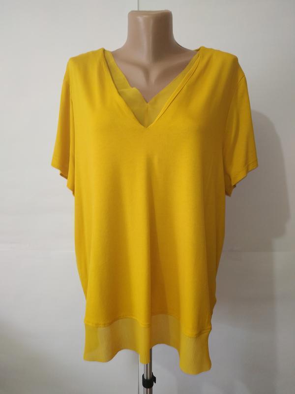 Блуза желтая красивая вискозная большой размер marks&spencer u...