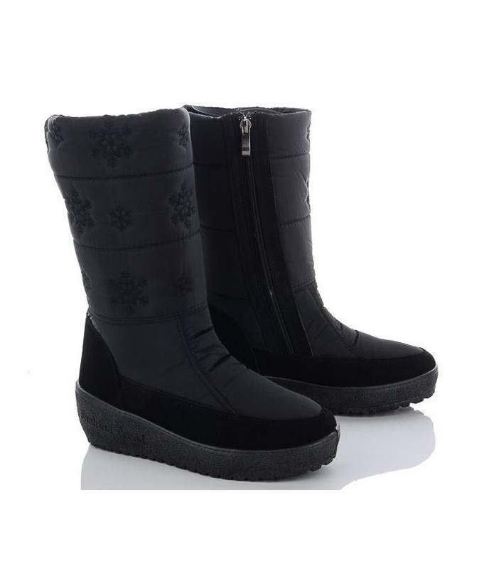 Женские зимние черные сапоги дутики со снежинками украина
