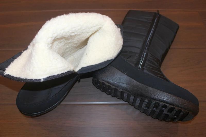 Женские зимние черные сапоги дутики со снежинками украина - Фото 5