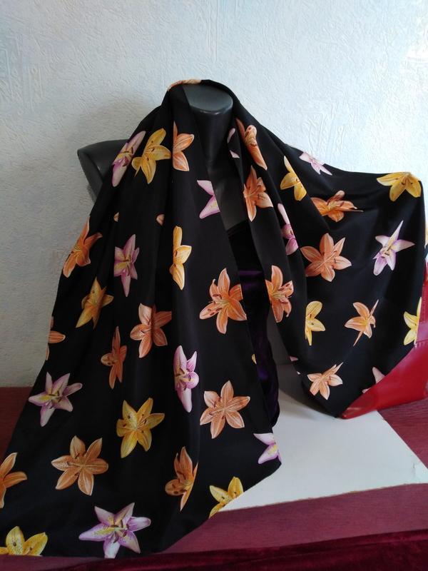 Натуральный шелк, швейцария, красивый шарфик*цветы*, 139*50
