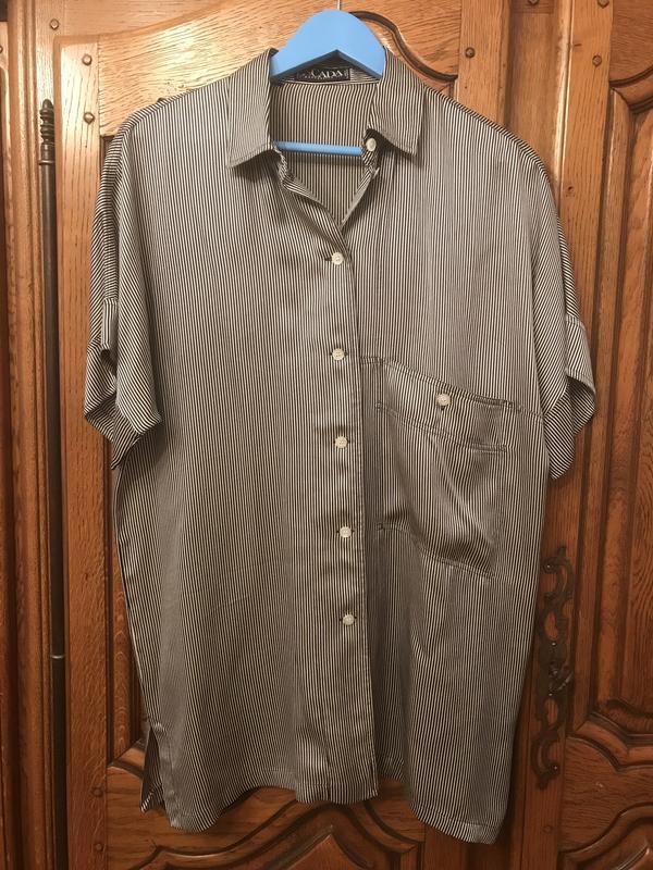 Винтажная рубашка в полоску escada батал