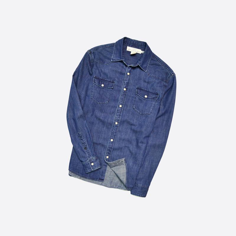 H&m s / мужская джинсовая рубашка на кнопках, есть потёртости