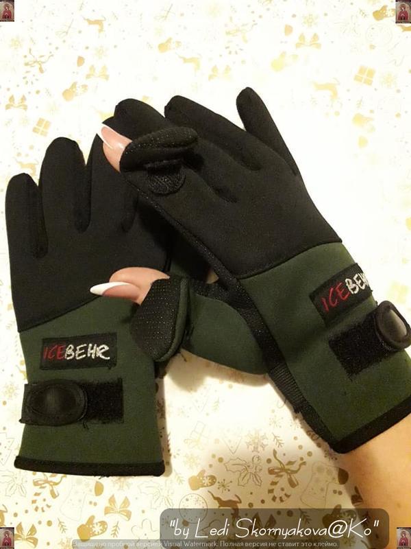 Новые специальные перчатки для зимней цвета хакие со специальн...