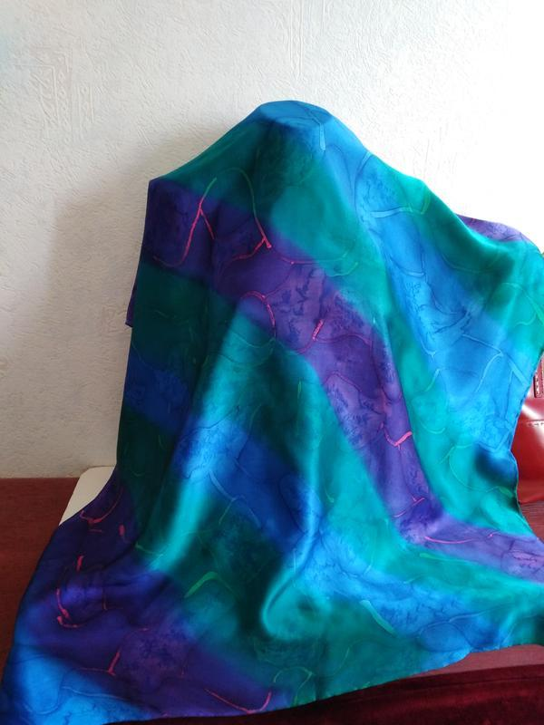 Натуральный гладкий шелк, красивый платок, 84*84