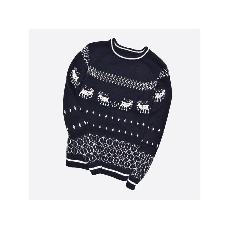 Celio m-l* / мужской тёплый свитер в узор с оленями