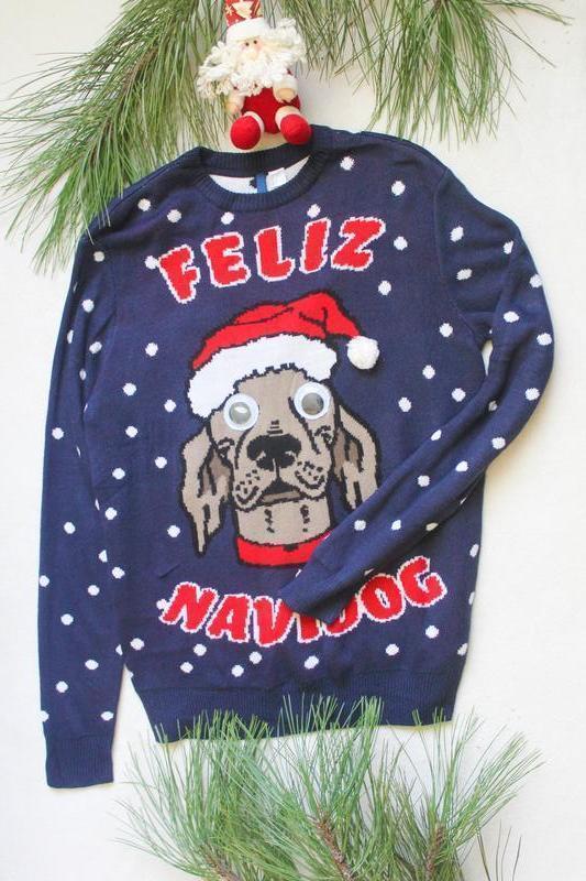Мужской новогодний свитер с псом (54), размер l
