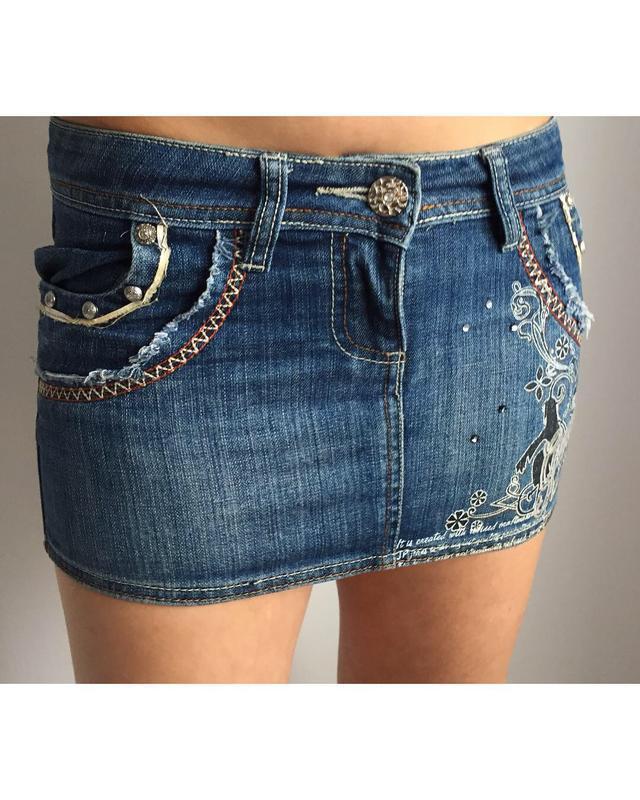 Джинсова юбка, міні юбка, джинсова спідниця, коротка спідниця.