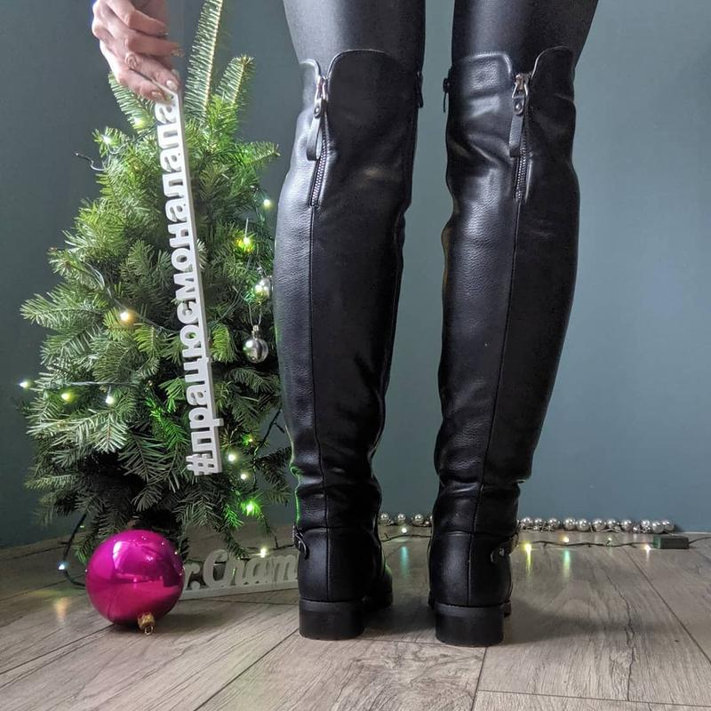 Мех по всей длине женские зимние сапоги ботфорты - Фото 4