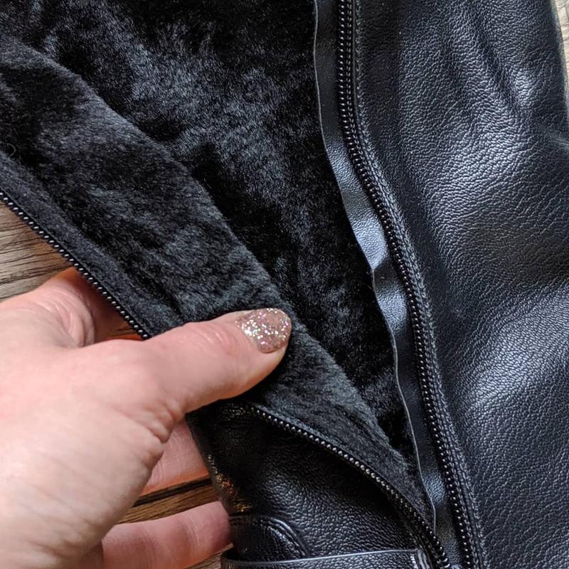 Мех по всей длине женские зимние сапоги ботфорты - Фото 5