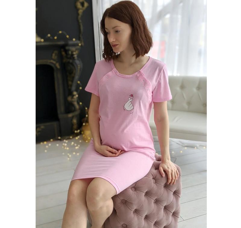 """🌺 ночная рубашка для беременных и кормящих мам """"сердечко"""""""