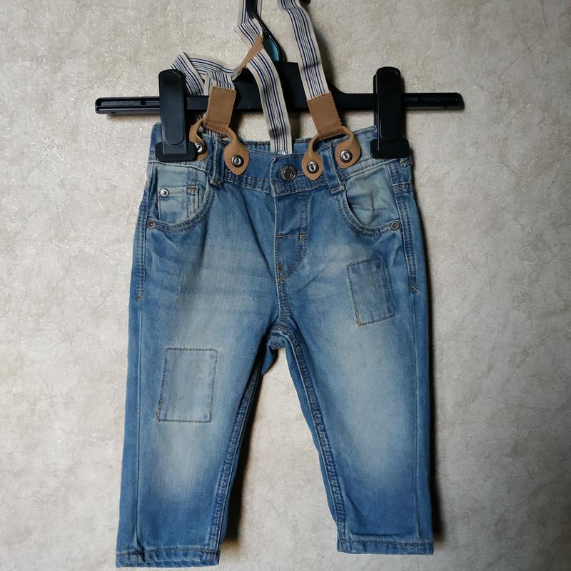 Джинсы с подтяжками, штаны