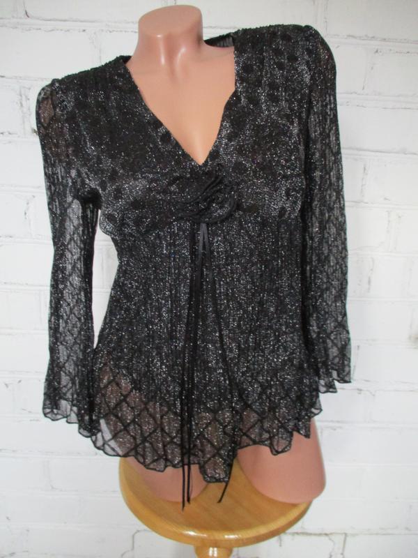 Блуза черная с люрексом праздничная/нарядная/m-l