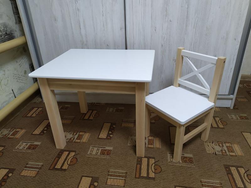 Детский стол со стулом (белый + натуральное дерево)