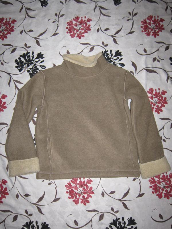 Теплый флисовый свитер пуловер под цигейку