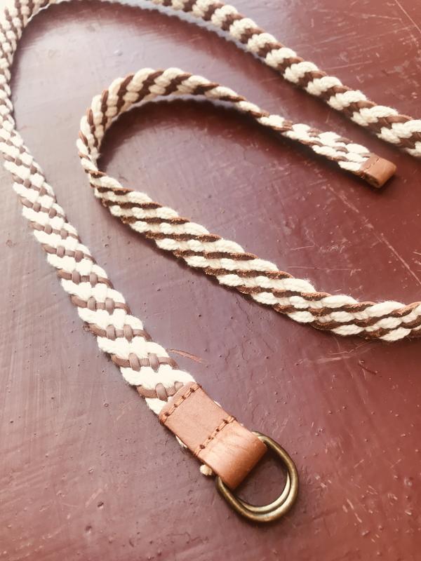 Кожаный ремень с плетенной плотной нитью