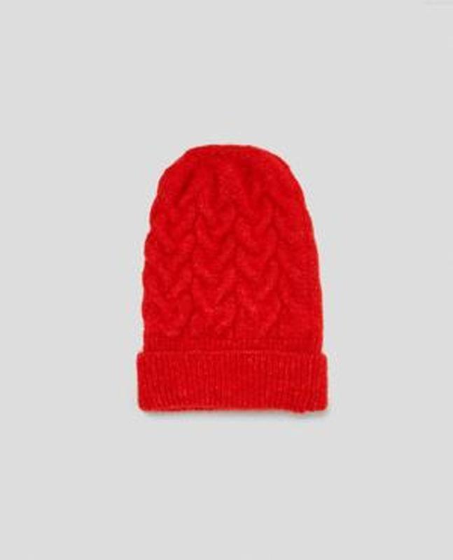 Красная oversize шапка-бини zara