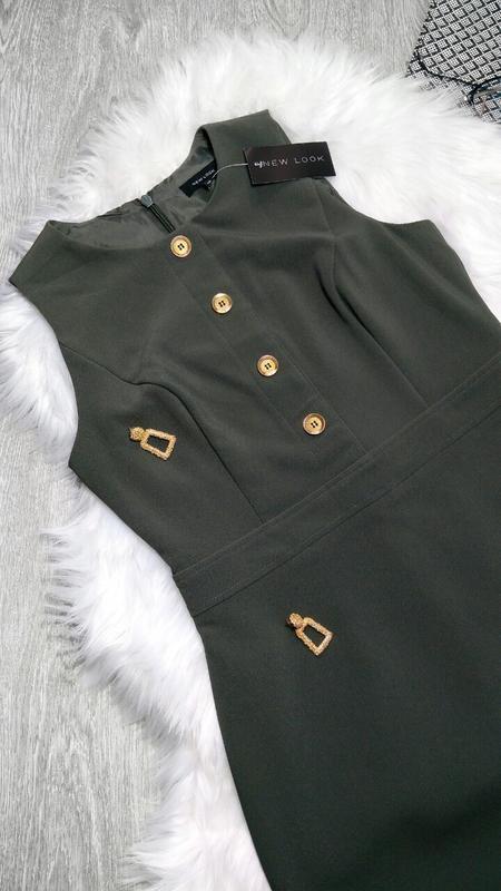 Платье сарафан цвета хаки с золотыми пуговицами new look ❗ново...