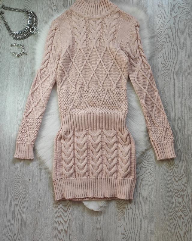 Розовое теплое платье свитер длинный шерсть вязаное плотное ту...