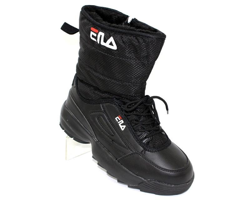 Женские зимние черные спортивные ботинки дутики