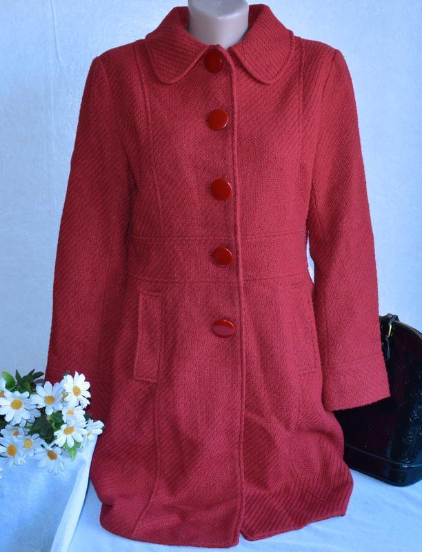 Брендовое красное демисезонное шерстяное пальто с карманами pa...