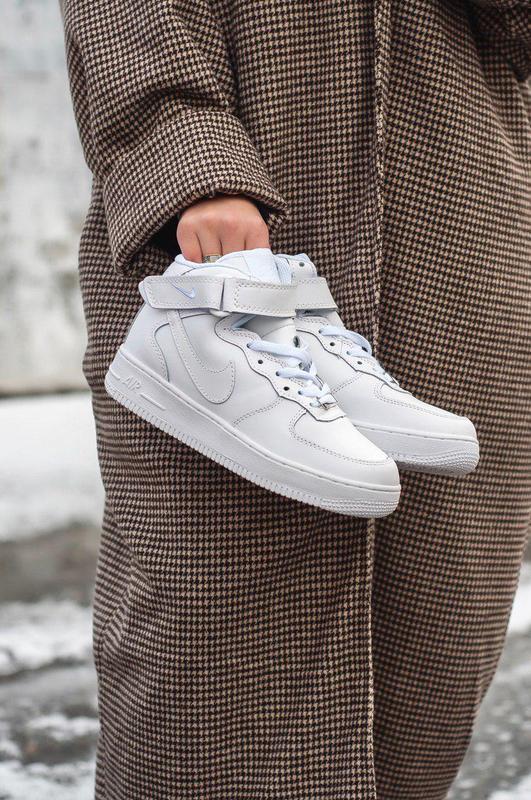 Nike air force 1 high white winter fur! шикарные женские зимни...