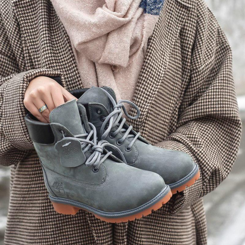 Шикарные женские зимние ботинки timberland gray 😍 (на меху)