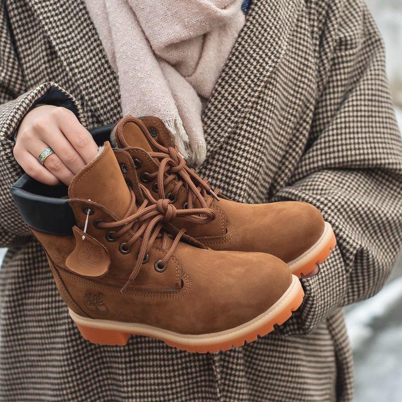 Шикарные женские зимние ботинки timberland brown 😍 (на меху)
