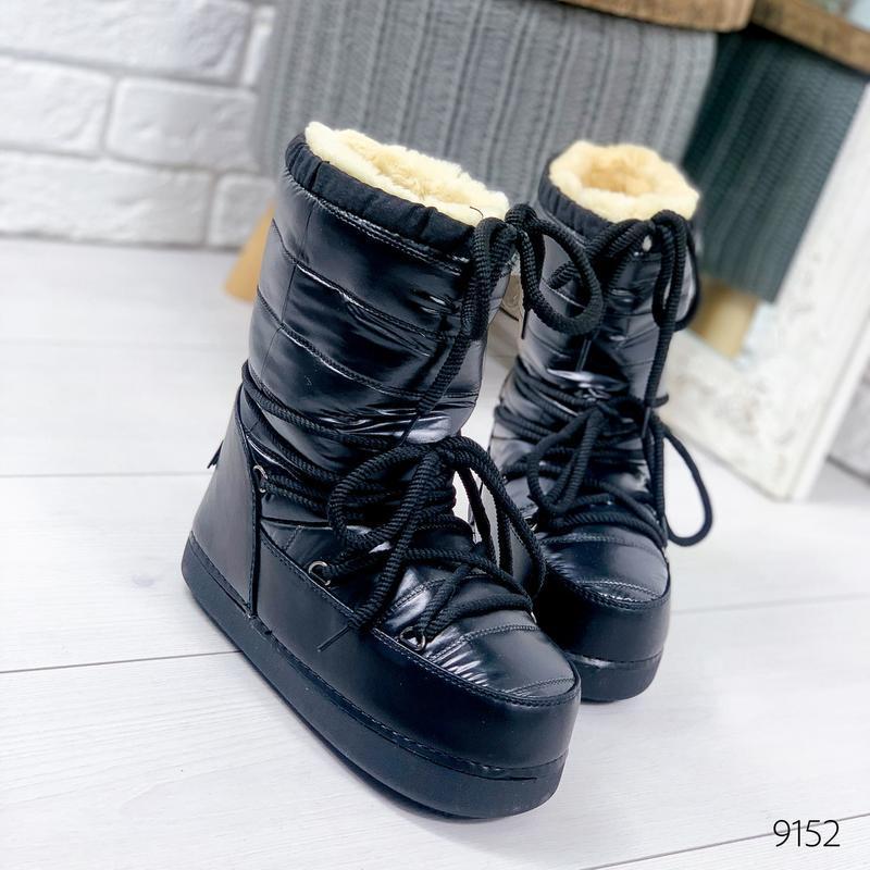 ❤ женские черные зимние луноходы угги ботинки сапоги полусапож...