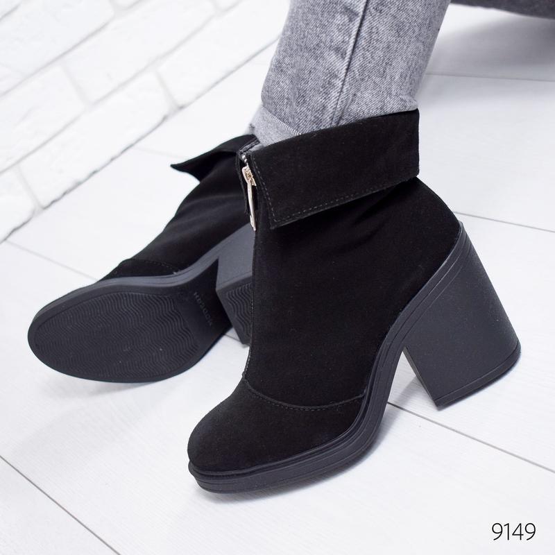 ❤ женские черные зимние замшевые ботинки сапоги полусапожки на...